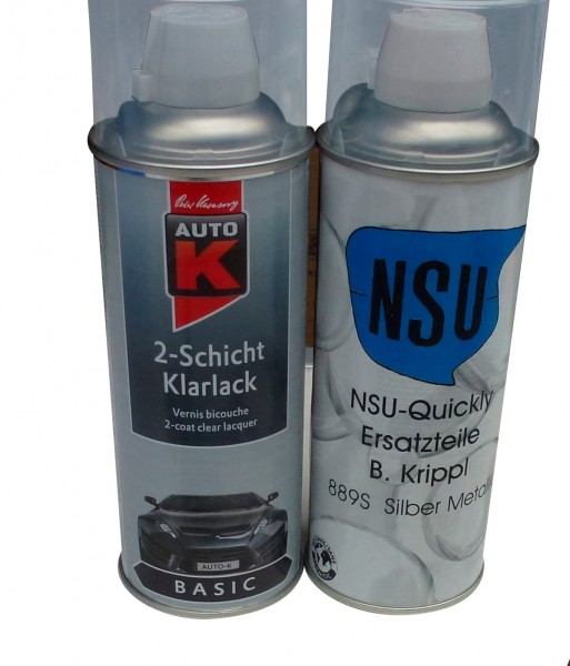Silber-Lack Spray 400ml + Klarlackspray (Set)