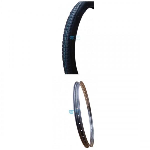 Bundle Reifen 26 X 2.00 Profil fein + Felge 2.00, roh