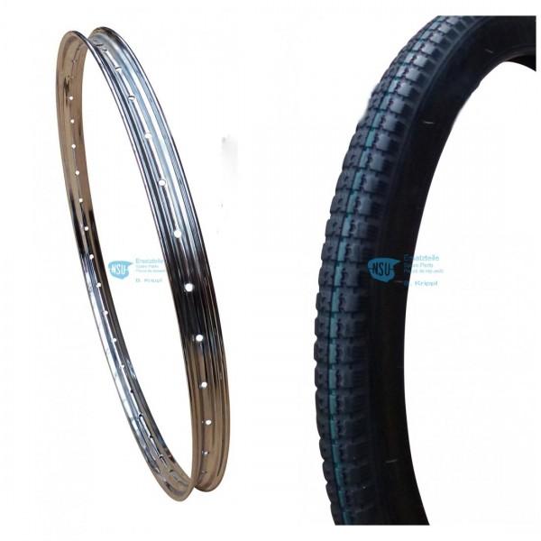Set Chromfelge 26 x 2.00 + Reifen Profil fein